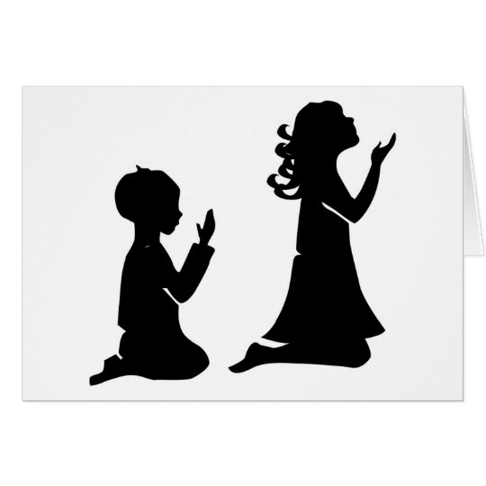 Praying Children Black Silhouettes Card