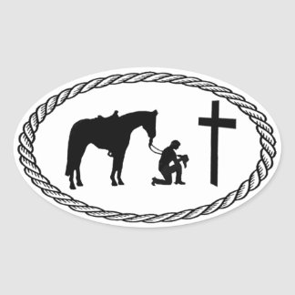 Praying Cowboy Cross Euro Style Oval Sticker