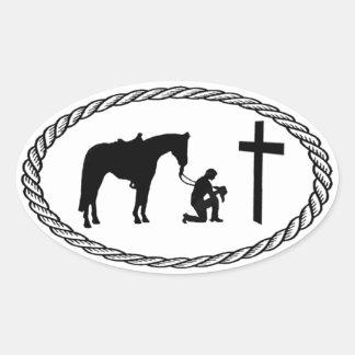 Praying Cowboy Cross Euro Style Sticker