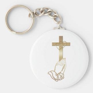 Praying Hands Basic Round Button Key Ring