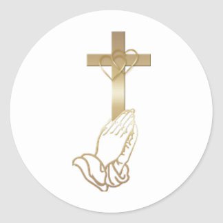 Praying Hands Classic Round Sticker