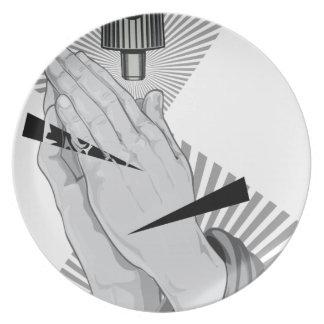 Praying Hands Graffiti Plate