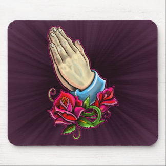 Praying Hands Roses Design Mouse Pad