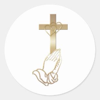 Praying Hands Round Sticker