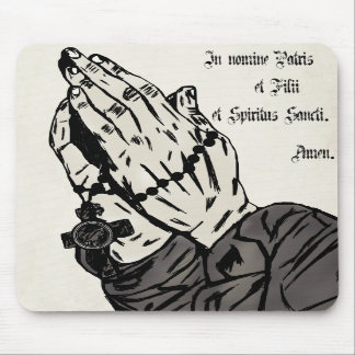 Praying Hands With Sign of the Cross Mouse Pad