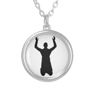 Praying man on the knees silver plated necklace
