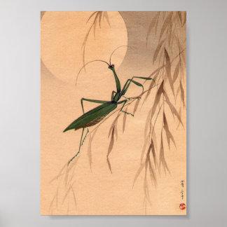 Praying Mantis and the Moon Japanese Art c. 1800s Poster