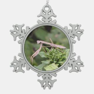 Praying Mantis Snowflake Pewter Christmas Ornament