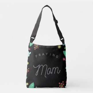 Praying Mom Black Floral Tote Bag