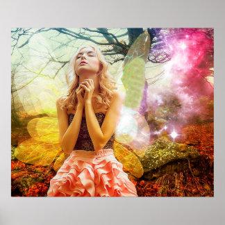 Praying Mystical Spiritual Girl Poster