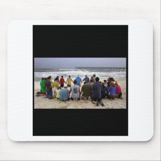 Praying On The Beach Mouse Pads