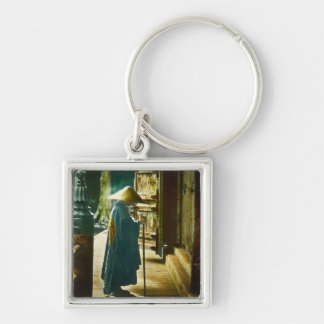 Praying Priest in Old Japan Vintage Magic Lantern Silver-Colored Square Key Ring