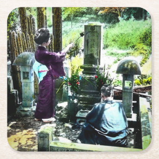 Praying to the Ancestors in Old Japan Vintage Square Paper Coaster