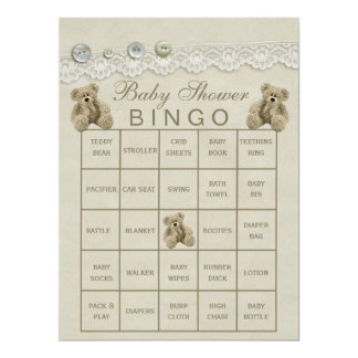 Pre Filled Customizable Teddy Baby Shower Bingo Card