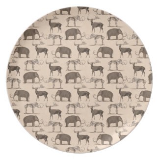Pre-Historic Mammals Woolly Mammoth, Megaceros Party Plates