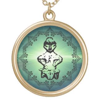 Pre Historic Vinca Culture Goddess Figurine Gold Plated Necklace