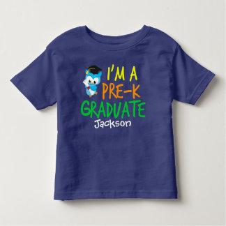 Pre-K Graduate Cute Blue Owl Custom Toddler T-Shirt