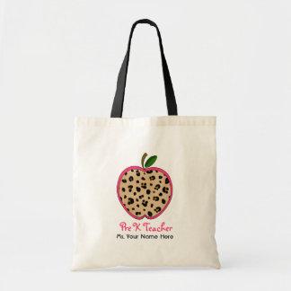 Pre K Teacher Leopard Print & Pink Apple Tote Bag
