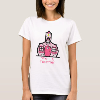 Pre K Teacher Paint Splatter Schoolhouse T-Shirt