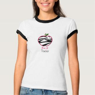 Pre K Teacher Shirt - Zebra Print Apple w Pink