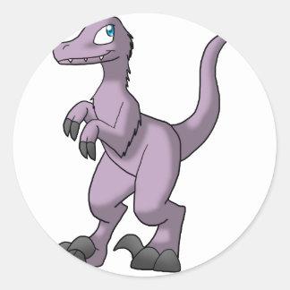Pre-Made Velociraptor - Faded Lavender w/ Extras Round Sticker