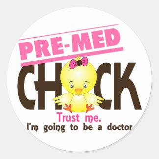 Pre-Med Chick 3 Round Sticker