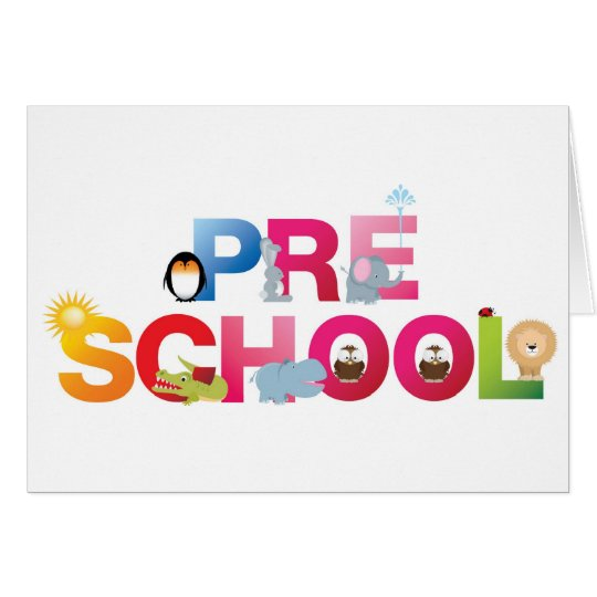 pre school word in fun letters card