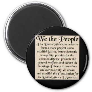 Preamble to The Constitution of the United States 6 Cm Round Magnet
