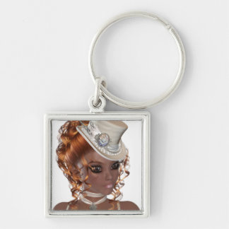 Precious African American Woman Silver-Colored Square Key Ring