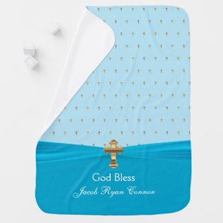 Precious Baby Christening | Baptism | Gold Crosses Baby Blanket