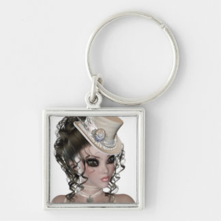 Precious Brunette Woman Silver-Colored Square Key Ring