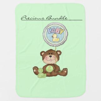 Precious Bundle Teddy Bear Green Receiving Blanket