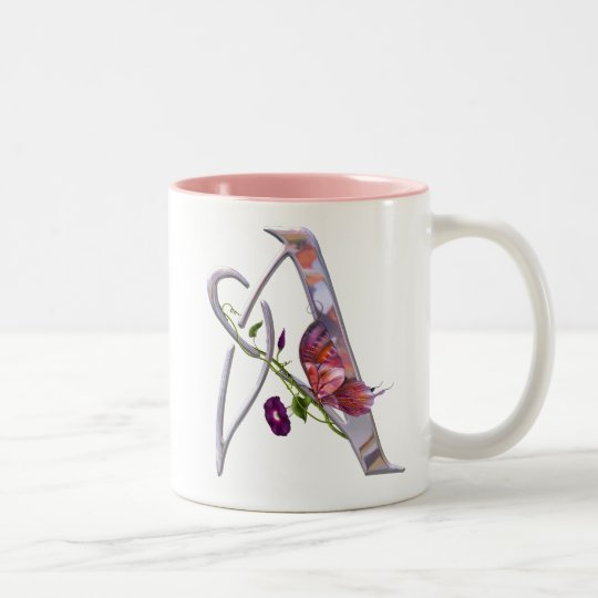 Precious Butterfly Initial A Two-Tone Coffee Mug