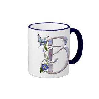 Precious Butterfly Initial B Coffee Mugs