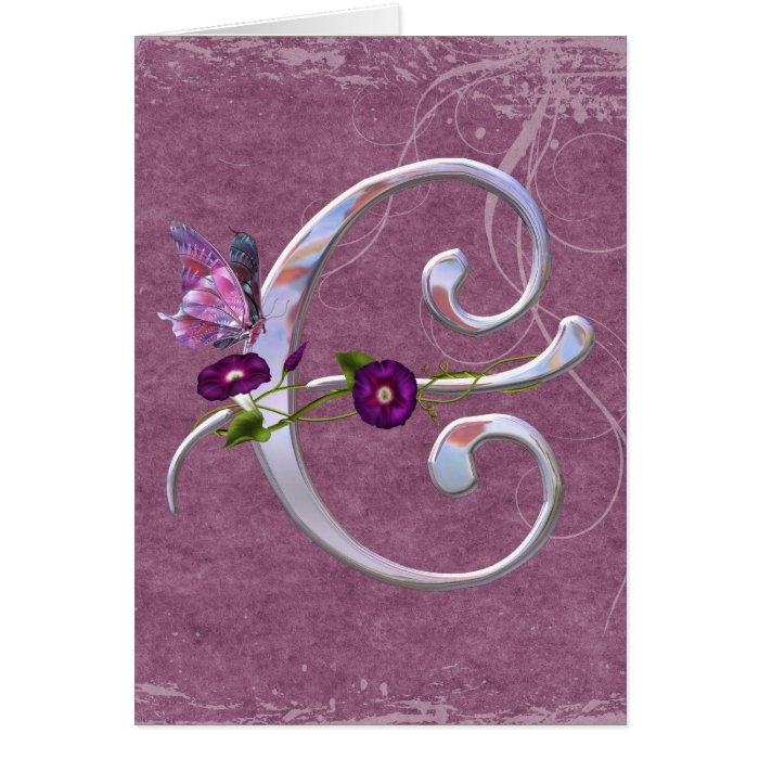 Precious Butterfly Initial C Greeting Card