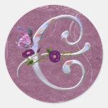 Precious Butterfly Initial C Round Sticker