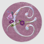 Precious Butterfly Initial C Round Stickers