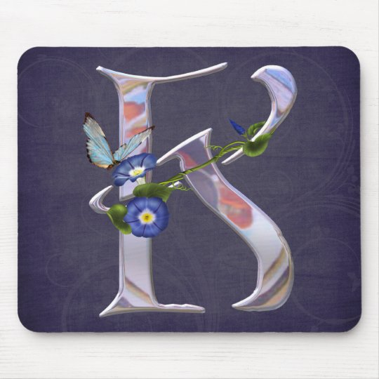 Precious Butterfly Initial K Mouse Pad