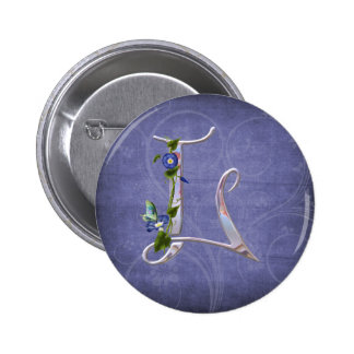 Precious Butterfly Initial L Pinback Buttons