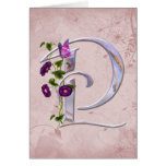 Precious Butterfly Initial P Greeting Cards