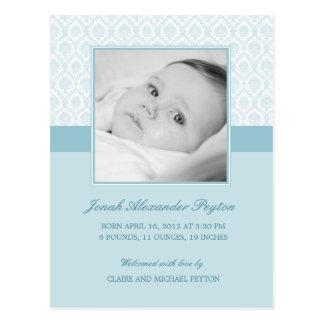 Precious Damask Baby Boy Birth Announcement Postcard
