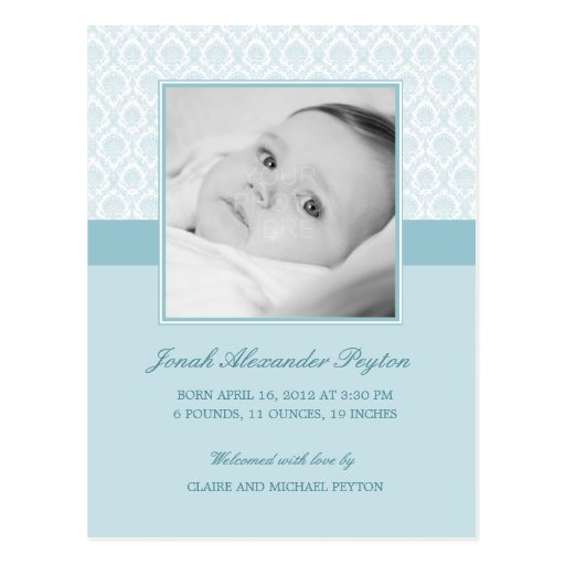 Precious Damask Baby Boy Birth Announcement Post Cards