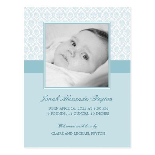 Precious Damask Baby Boy Birth Announcement Post Cards