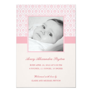 Precious Damask Baby Girl Birth Announcement