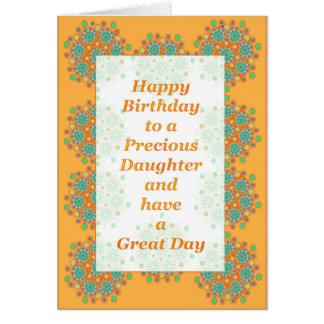 Precious Daughter Orange Flowers Greeting Card