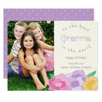 Precious Florals Happy Birthday Gramma Photo Card 11 Cm X 14 Cm Invitation Card