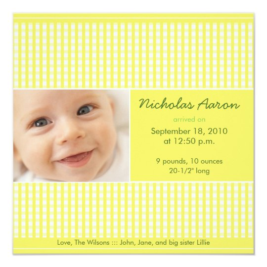 Precious Gingham (lemon) Birth Announcement