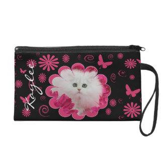 Precious Kittens Cats Pink Flowers Wristlet Purses