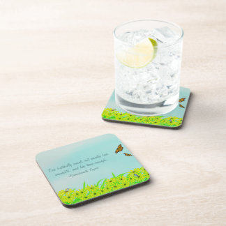 Precious Moments Butterflies Quote Beverage Coaster