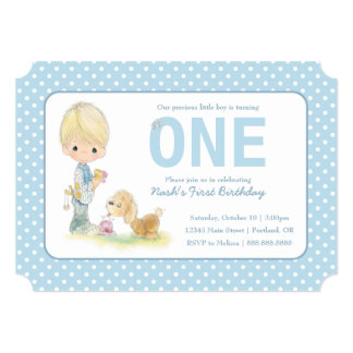 Precious Moments   First Birthday - Boy with Puppy Card